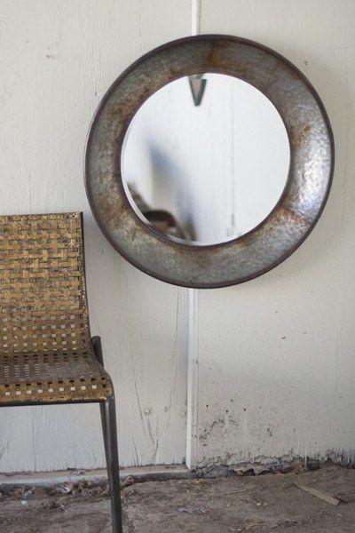 Large Round Metal Mirror-Natural Metal