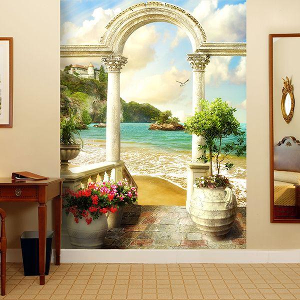 Fotomurale portico classico arcade sulla spiaggia #fotomurale #mural #parede #muro #decorazione #deco #StickersMurali