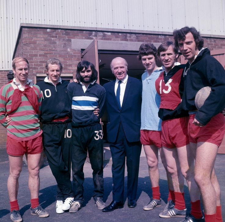 old Manchester United, 1971: Bobby Charlton, Denis Law, George Best, Matt Busby, Brian Kidd, Pat Crerand and David Sadler.