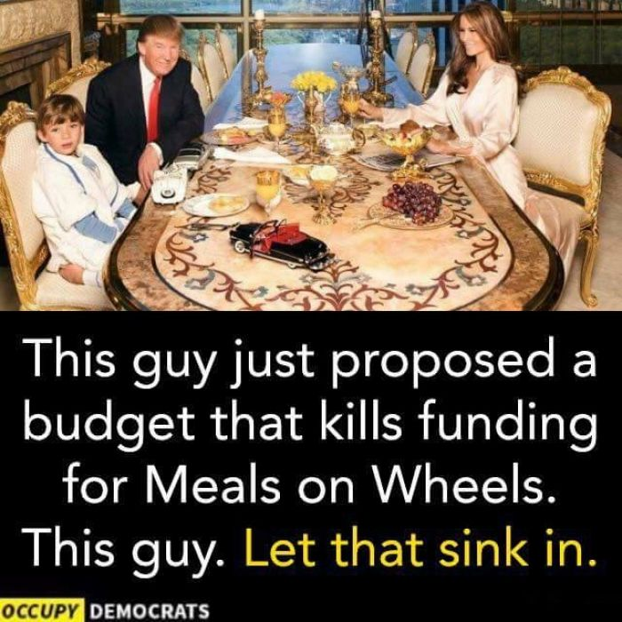 "Rant time. Some obscene realities of Thursday's proposed budget: One golf trip to Mar-a-lago costs the same as 419,000 seniors' Meals on Wheels (slash), three weeks of Trump Tower security = PBS's budget (cut), $54 billion hike to the military = 1,543 years' funding for Institute of Peace (gone), starving poor kids and the (the often Trump-voting) elderly is ""compassionate"" because feeding them isn't ""showing any results."" Q: Who are these pe..."