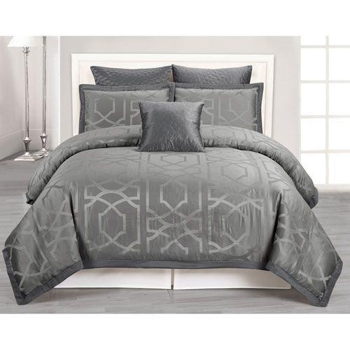 Kempsey Grey Queen Six-Piece Comforter Set