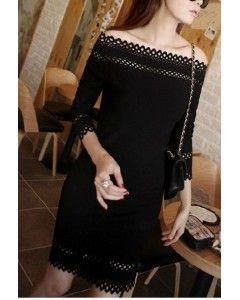 Black Slash Neck Straight Dress