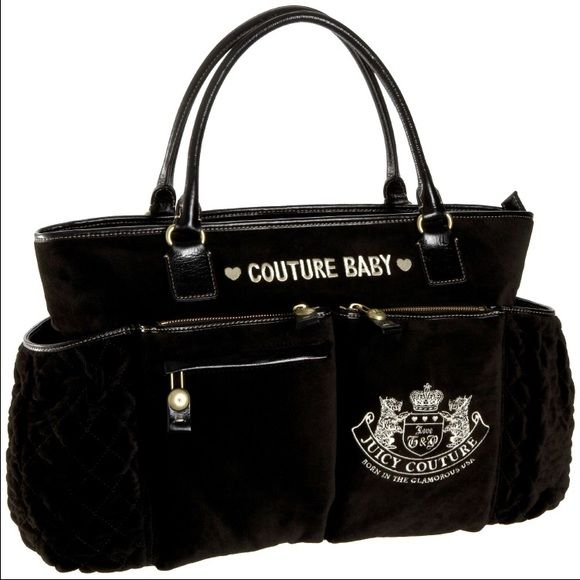 Juicy Couture Diaper Bag Authentic large black Juicy Couture diaper bag with several compartments including 7 inside pockets and 6 outside pockets. Pre-loved still in great condition. No tears or scratches and no visible stains, only Juice stains on the inside of both outside bottle pockets. Comes with bib and burp cloth. PRICE FIRM! NO TRADES, NO PAYPAL. FREE GIFT WITH ANY PURCHASE✨ Juicy Couture Bags Baby Bags