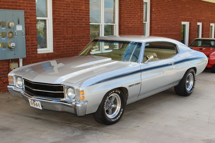 1971 Heavy Chevy Chevelle This was my first car!  Mine was gold w/ the black pin striping, hood pins and blk interior.