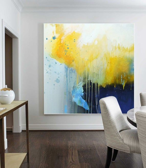 Large Yellow Paintingdeep Blue Abstract Canvas Etsy Abstract Art Paintings Acrylics Art Painting Acrylic Yellow Painting