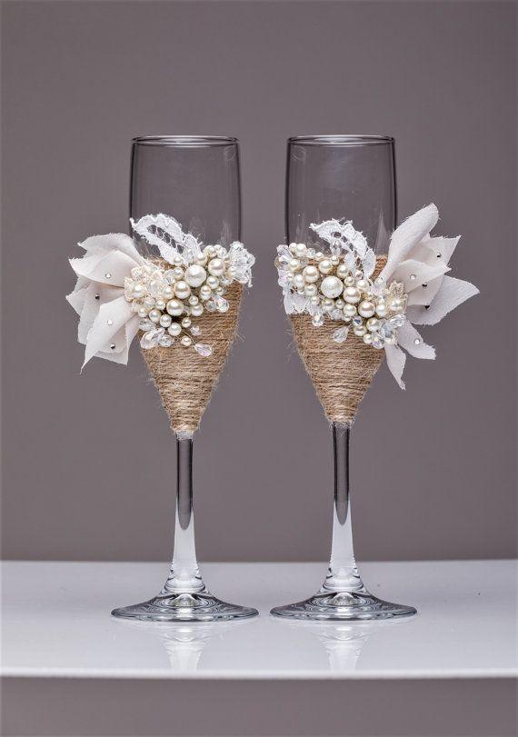 Garden Wedding White Rustic Chic Wedding Glasses Cake Server And