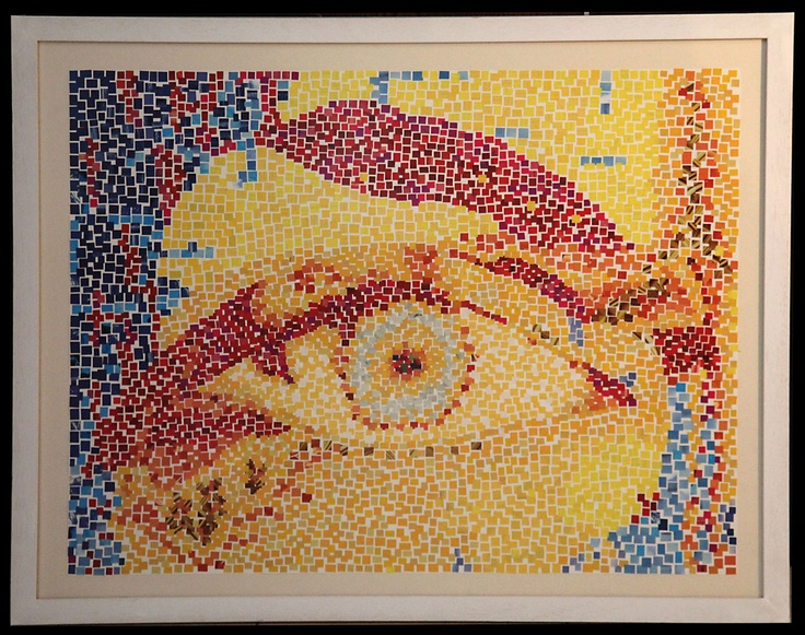 The eye, paper mosaic collage from magazine pages, 50 X 70 cm, white wooden frame