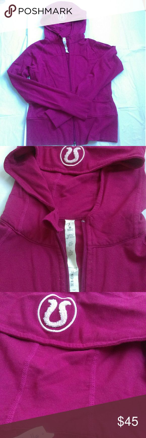 Lululemon Hoodie-Scuba Remix Lux Did not see any holes  or stains except for a tiny snag on the inside of the jacket. Excellent used condition. Berry pinkish color. Fitted. Very soft! Pet and smoke free home.  Measurements are Approx: Arm pit to arm pit 16 inches Shoulder to bottom length 21 inches Middle waist 15 Inches lululemon athletica Tops Sweatshirts & Hoodies