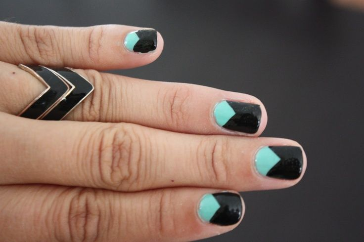 mint + black nail art   closet horse ......love the ring