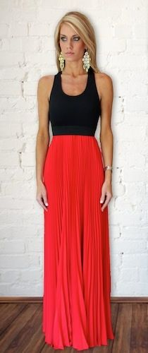 red pleated maxi skirt and black tank