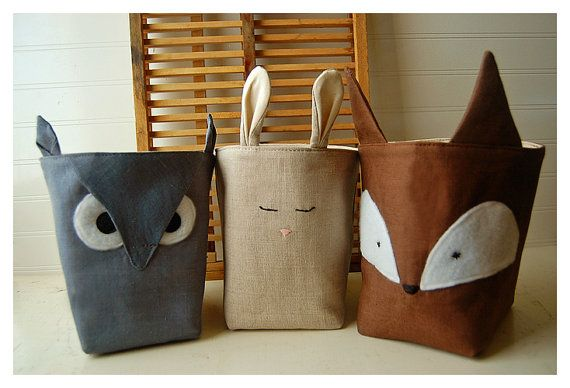 Forest Friends Box Fox Owl Bunny Rabbit SET of 3 Natural Nubby Linen Fabric Bin Organizer Storage Basket Embroidery