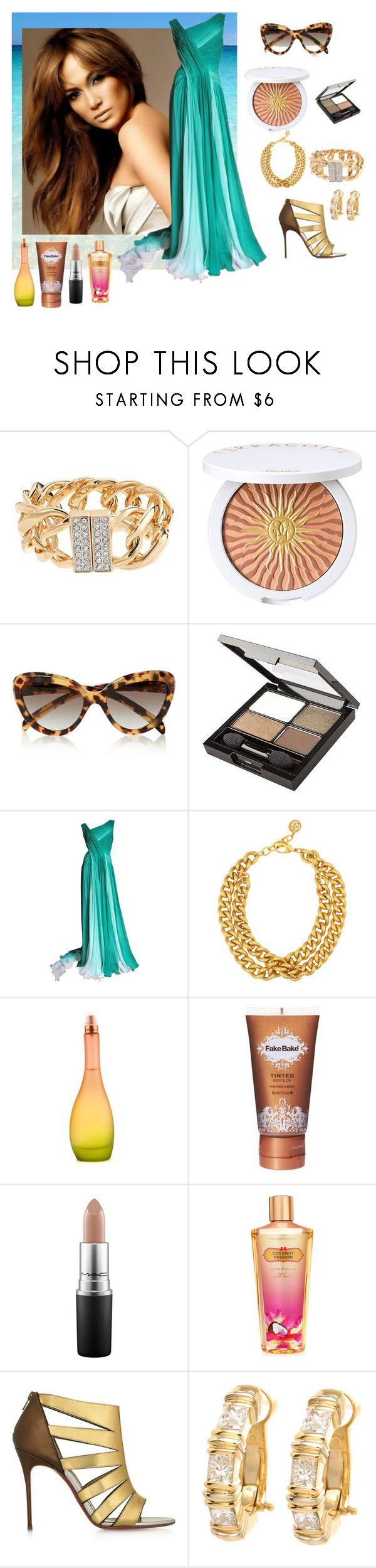 """Jennifer Lopez Style"" by fashionfan-8 ❤ liked on Polyvore featuring Jennifer Lopez, Guerlain, Prada, Revlon, Monique Lhuillier, Ben-Amun, JLo by Jennifer Lopez, Fake Bake, MAC Cosmetics and Victoria's Secret"