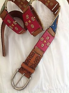 Fossil Leather Patchwork Tooled Belt ~Nina Proudman Style ~L