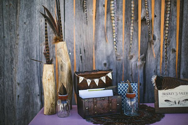 Feathers and Wood Wedding Inspiration
