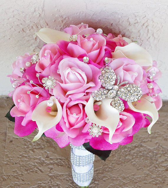 Wedding Brooch Bouquet with Jewels Crystal and Pearl  by Wedideas, $149.00