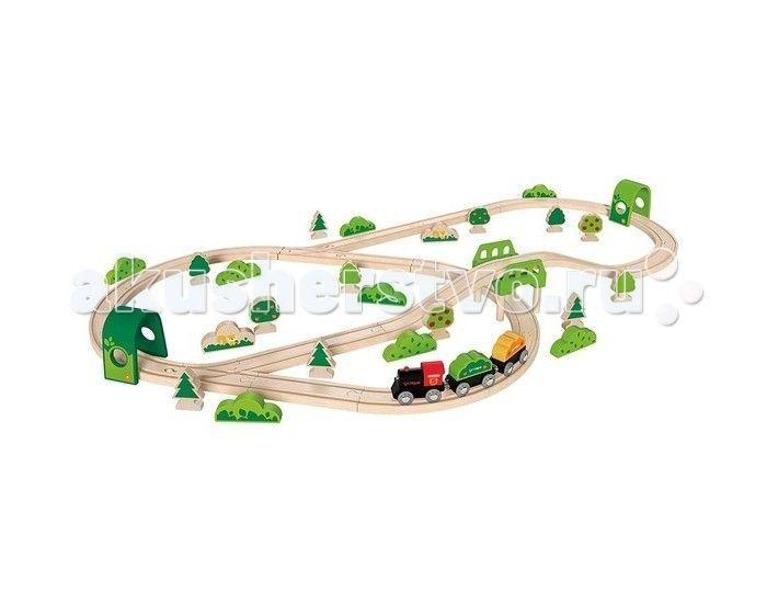 Hape Железная дорога E3713  Hape Железная дорога E3713 - мечта любого мальчишки!   Особенности: В игровой набор входит все необходимое для создания реальной картины из жизни в миниатюре и отлично поиграть одному или в компании друзей: рельсы, мостик, тоннель, грузовой состав, зеленые насаждения (всевозможные кусты и деревья). Вагоны крепятся друг к другу магнитными элементами, расположенными в передней и задней частях, что позволяет беспрепятственно отсоединять их, комбинировать по ходу игры…