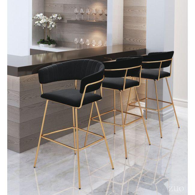 101218 Hanna Bar Chair Black Velvet Bar Chairs Velvet Furniture Home Decor