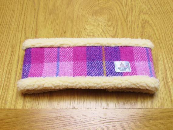 Harris Tweed Head Warmer Headband Pinks and Purples