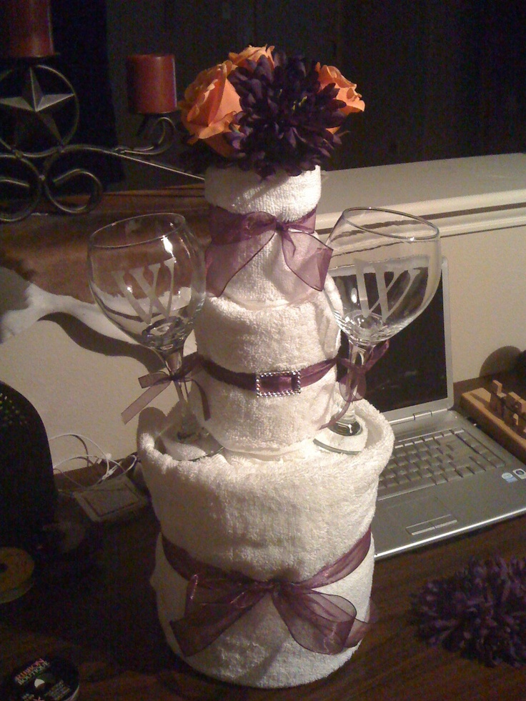 Bridal Towel Cake (in any color)color and flowers of the brides cake)