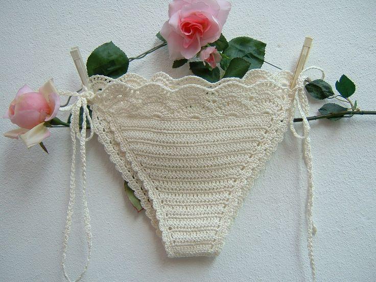 Slip di cotone avorio all'uncinetto-Costume crochet hippie chic a triangolo-Slip…