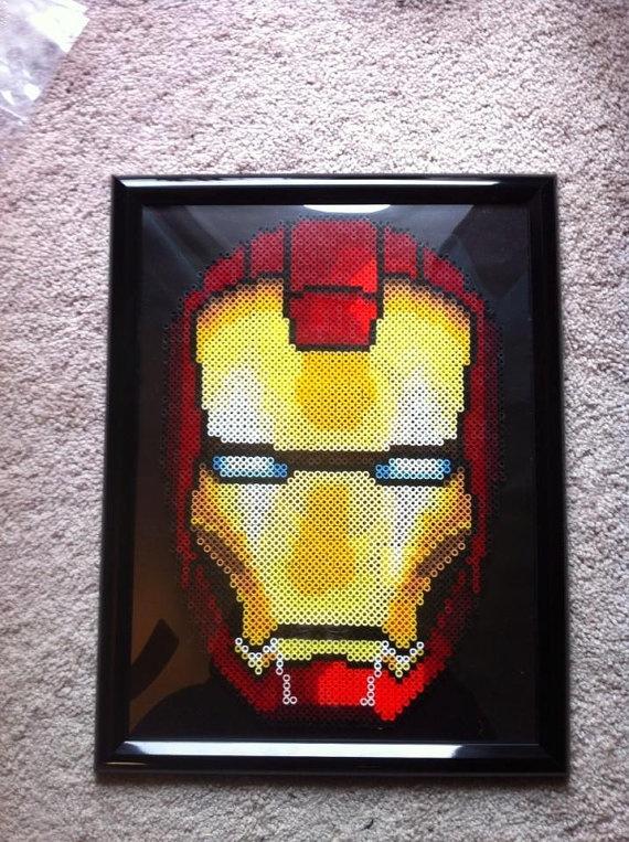 Marvel Avengers Iron Man Helmet Perler Bead Sprite Wall by SDKD, $72.00 #Rt #promoasis #promooasis