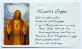 Motorist's Sacred Heart of Jesus Prayer Card.