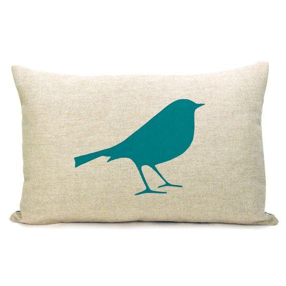 Teal bird pillow
