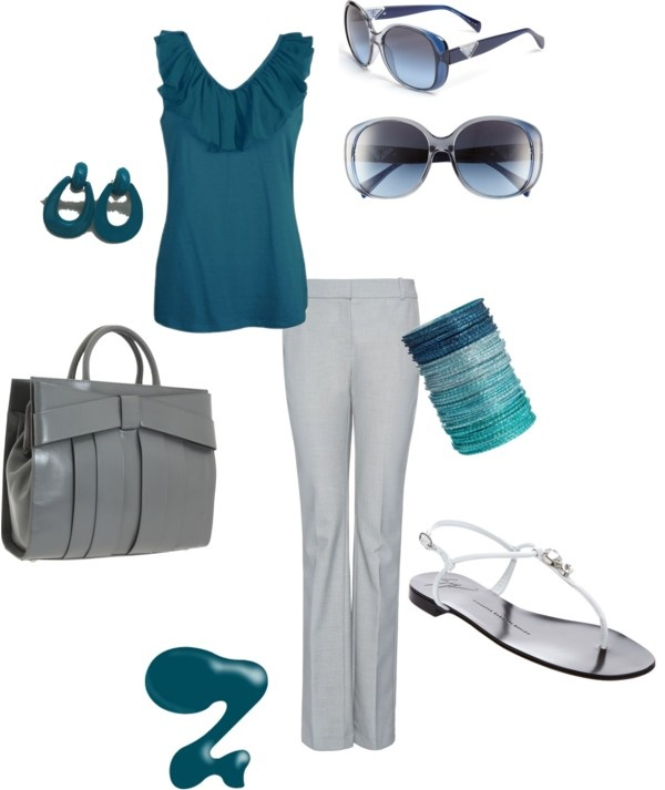 Beautiful teal combination - suitable for summer office looks