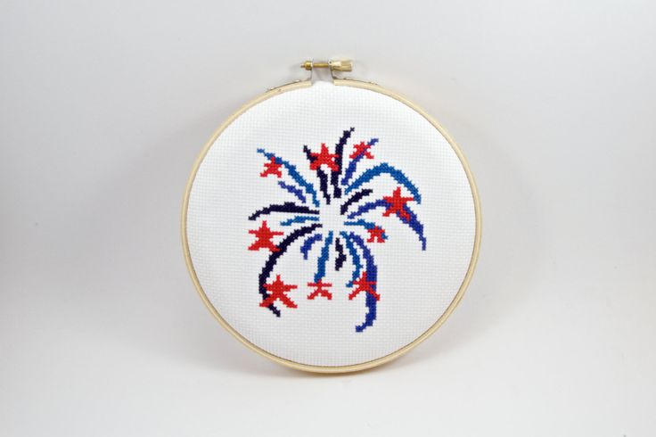 Cross Stitch INSTANT DOWNLOAD 4th of July Celebration Design Pattern by WiReDStitches on Etsy