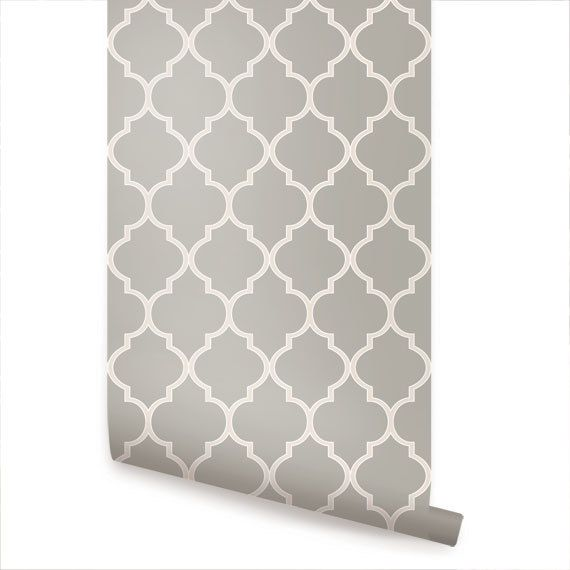 Moroccan Grey Peel & Stick Fabric Wallpaper Repositionable on Etsy, $35.00