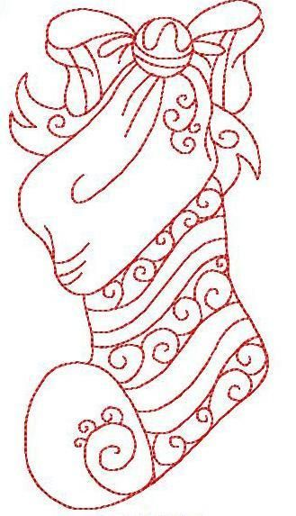 """Christmas Stocking Hand Embr 3 Sizes  ( ... would be great as shown in """"red work"""" ... )"""