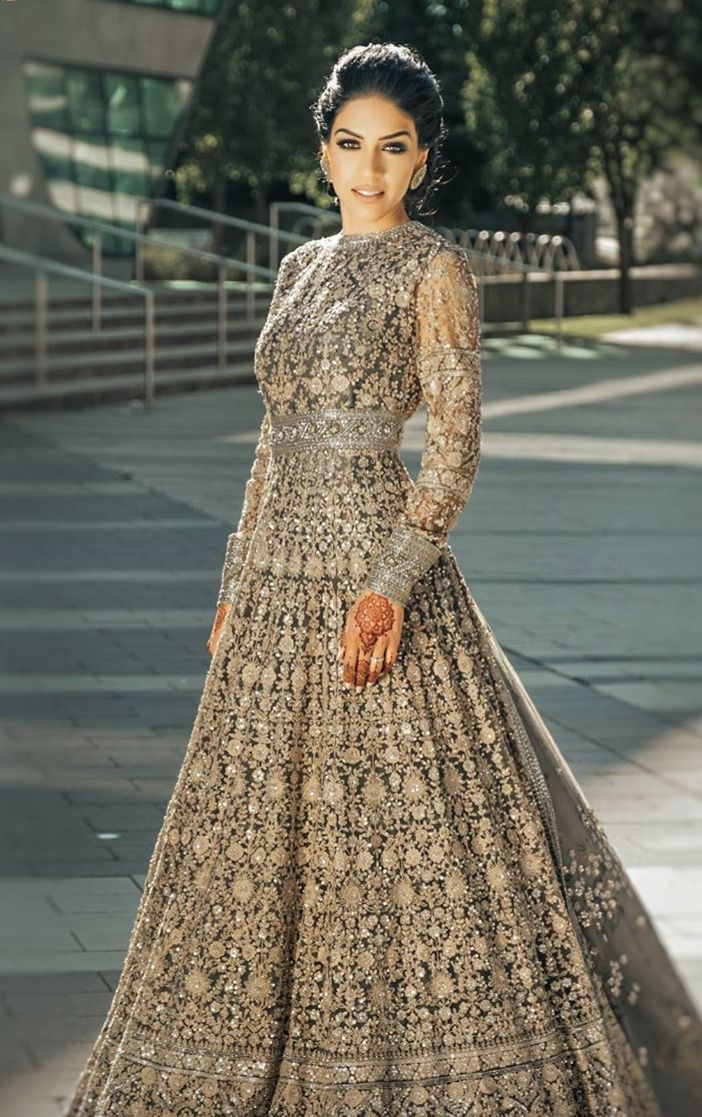 Long Sleeve Embroidered Indian Gown For A Wedding Reception Bridal