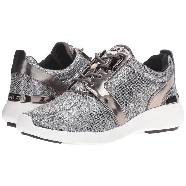 MICHAEL Michael Kors Amanda Trainer (Gunmetal Glitter Mesh/Mirror... ($125) ❤ liked on Polyvore featuring shoes, sneakers, glitter shoes, rubber sole shoes, round cap, michael michael kors shoes and print shoes