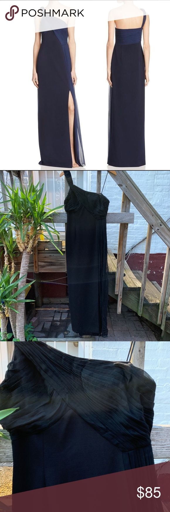 NWT Aiden Mattox One Shoulder Black Gown Beautiful one shoulder gown with slit! …