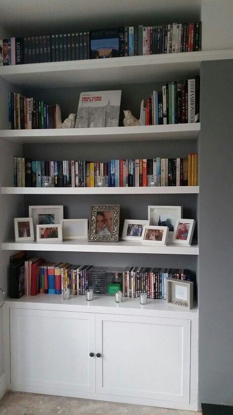 White bookcase shelves farrow ball 1930s house