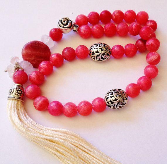 Turkish Islamic 33 Prayer Beads, Tesbih, Tasbih, Misbaha, Sufi, Worry Beads, Relaxation, Pocket Beads - Rhodochrosite, Love, Balance on Etsy, $38.00