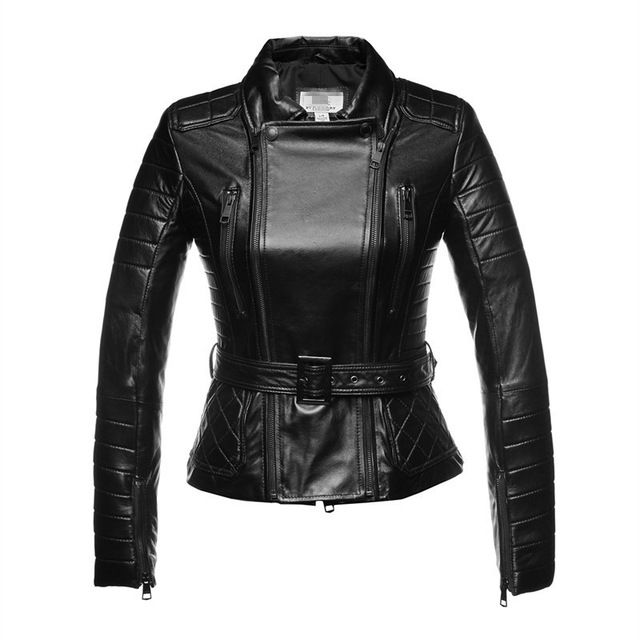 Genuine Leather Jacket Women Sheepskin Zipper With belt Jaqueta De Couro Womens Coats And Jackets Winter 2015 Black US $147.97 /piece Specifics Gender	Women Outerwear Type	Leather & Suede Decoration	Zippers,Adjustable Waist Clothing Length	Regular Brand Name	jacket Style	Fashion Closure Type	Zipper Material	Genuine Leather Collar	Turn-down Collar Sleeve Length	Full Model Number	B  Click to Buy :http://goo.gl/t9O329