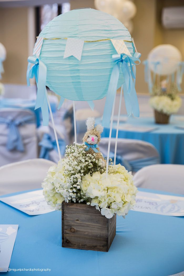Floral hot air balloon table centerpiece from a bunny