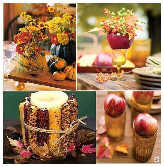 ... table decoration. Center table with vase, pumpkin, flower, candles