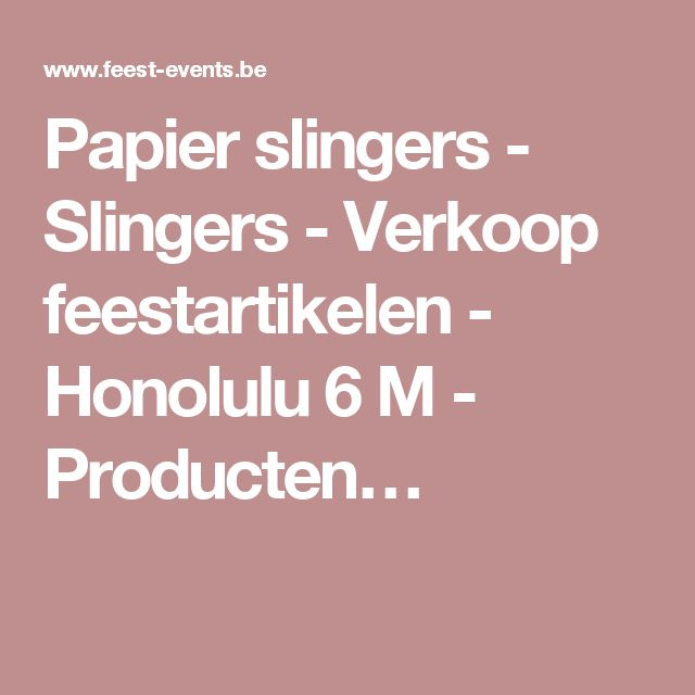 Papier slingers - Slingers - Verkoop feestartikelen - Honolulu 6 M - Producten…