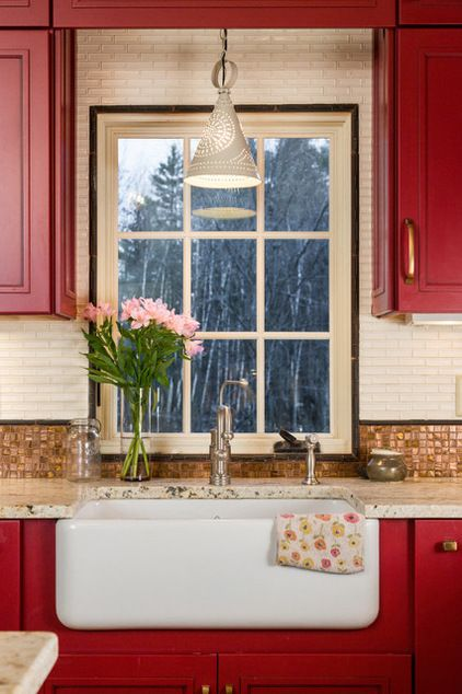 Farmhouse Kitchen By New England Design Elements Kitchen Redo Pinterest A Line Red