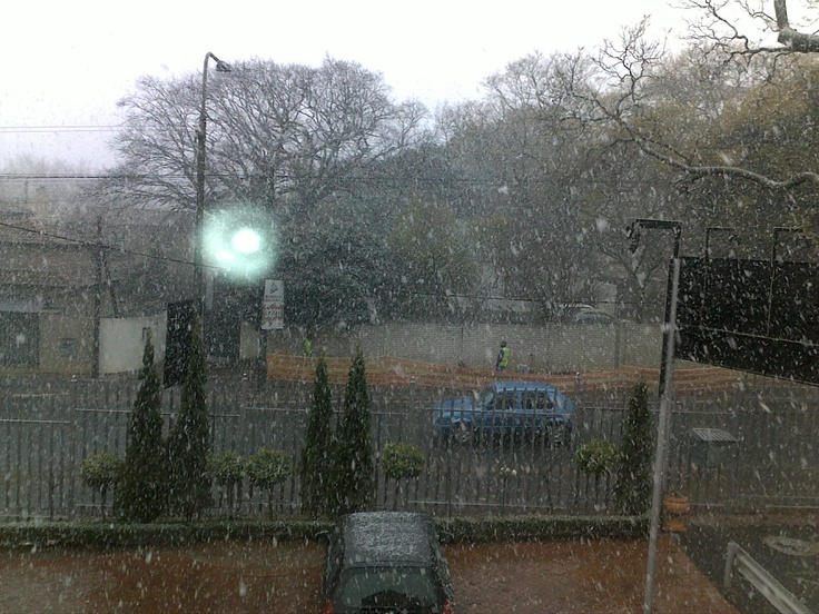 when it was snowing in Parkhurst, Johannesburg; outside my workplace
