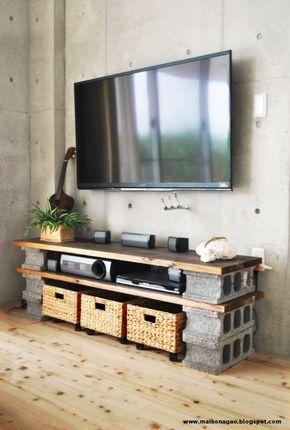 blocos de concreto como aparador ou estante.