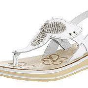Удобные кожаные босоножки - отличная повседневная обувь для лета! Модель украшают декор из блестящих стразов спереди и цветочный узор на стельке из кожзаменителя. Маленькая полосатая платформа (ок. 2 см) переходит в каблук высотой ок. 3,5 см. Регулируемые ремешки обеспечивают оптимальную посадку босоножек на ноге. Кокетливое платье или комплект с шортами - эти босоножки подойдут ко всему! за 5599р.- от Otto