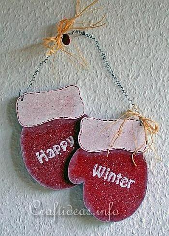 Christmas Wood Craft - Wooden Mittens Door Decoration - Happy Winter 2