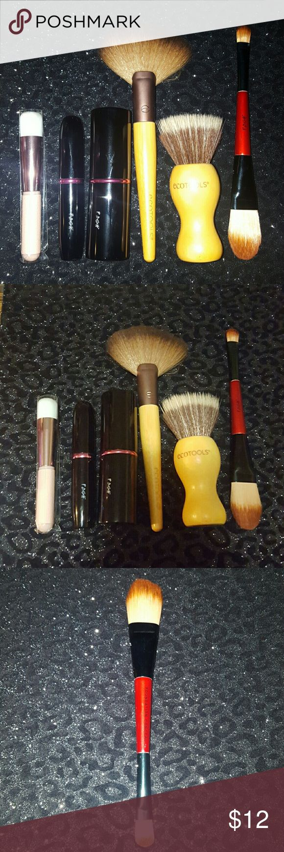 Makeup Brush Bundle -Posh, EcoTools & Physicians F Makeup Brush Bundle. SOME ARE USED & SOME NEW. You get 3 POSH Brushes: Retractable Kabuki Brush, Retractable Blush Brush, & Double Ended Foundation/Concealer Brush. 2 Eco Tool Brushes: 1 is a Kabuki Stippling Brush & Fan Brush BOTH BRAND NEW. & A Brand New Physicians Formula Foundation Brush (still in wrapper). Physicians Formula Makeup Brushes & Tools