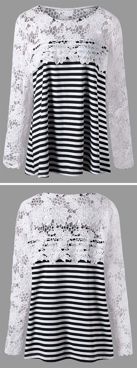 Wreck of the hesperus shirt design front amp back - Plus Size Lace Panel Long Sleeve Striped Blouse