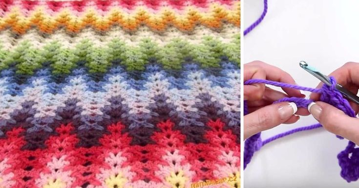 Soothing waves of color greet the eye of the beholder. When done correctly, the lacy chevron, also known as the granny ripple stitch, undulates with colors. Depending on the choices you make, you can create a soothing look, a cheery splash of color..