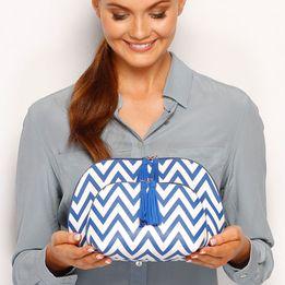 Louenhide Chevron Blue Cosmetic Bag Set