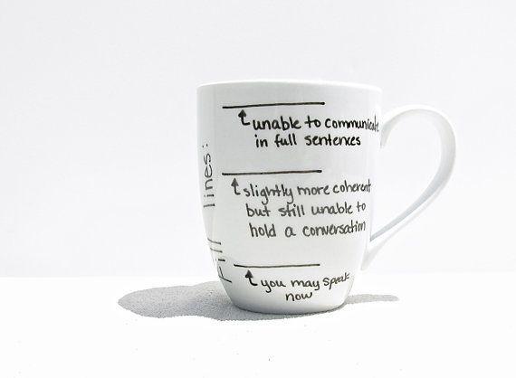 Coffee Mug - Fill Line Mug - Coffee Cup - Tea Cup - Black and White Mug - Funny Mug
